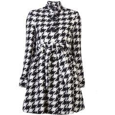 ALICE+OLIVIA Emilia coat ($555) ❤ liked on Polyvore featuring outerwear, coats, jackets, coats & jackets, black and white houndstooth coat, houndstooth coat, long sleeve coat, single breasted coat и black and white coat