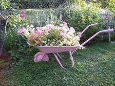 For an easy-to-plant whimsical landscaping design idea, roll an old wheelbarrow into a corner or curve in the garden, and plant it with a pretty collection of same-color flowers. Description from pinterest.com. I searched for this on bing.com/images