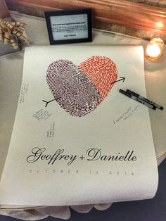 Guest book with bride and groom thumb prints