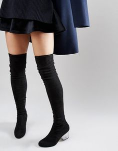 Image 1 ofASOS KENTUCKY Clear Heel Over The Knee Sock Boots