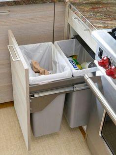 Trash inside cabinet