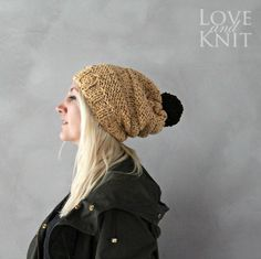 Slouchy Beanie with Pompom Yellow by LoveandKnit on Etsy, $40.00