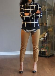windowpane and stripes business casual outfit...follow this board for more non-boring wear to work outfit ideas!