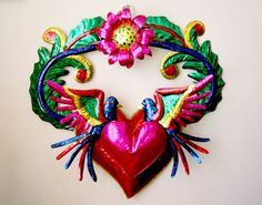Mexican Folk Art Tin Wall Ornament, Christmas