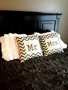 "$40 Chevron Pillow covers in grey/natural with grey Mr. & Mrs. printed and hand painted on natural burlap.  Covers measure 18"" x 18"" with envelope style flap to easily place and remove pillow inserts.     Please note- pillow inserts sold separately   Spot treat only. Avoid ironing directly on font."