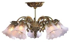 Victorian Brass 17 Wide Semi-Flushmount Ceiling Fixture -