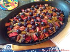 Honey-Cardamom Rhubarb and Blueberries Skillet Cake (grain/dairy free)