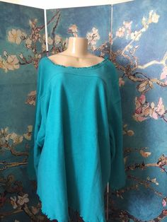 ROAMAN'S PLUS 4X NEW TURQUOISE SHERPA CREW RUFFLE TRIM LONG SLEEVE TUNIC TOP #Roamans #Tunic #Casual