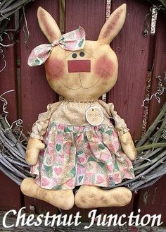 Bunnie Jo ePattern primitive easter spring country cloth doll ornament decoration fabric crafts sewing pattern design decor softie plushie plush sew craft patterns by Chestnut Junction.