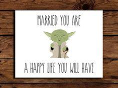 Star Wars Wedding Card Printable // Geeky Wedding Card // Yoda Wedding Card // Engagement // INSTANT DOWNLOAD on Etsy, $2.00