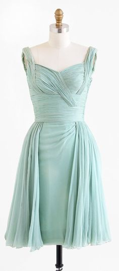 vintage 1960s mint green silk chiffon Grecian cocktail dress | http://www.etsy.com/rococovintage