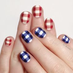 "nailallie: "" Happy (early) Fourth of July! I decided to do these red and blue gingham nails. Have fun and be safe tomorrow! """