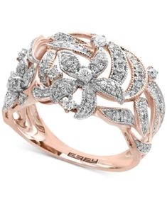 Effy Diamond Openwork Ring ct t.) in Rose Gold Gold Rings Jewelry, Gold Bangles, 8 Carat Diamond Ring, Diamond Rings, Rose Gold Flower Ring, Vintage Diamond, Statement Rings, Beautiful Rings, Colored Diamonds