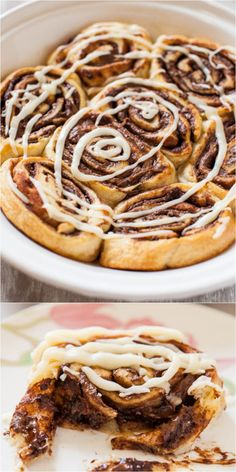 Nutella Cinnamon Rolls with Vanilla Glaze - Soft, gooey rolls that everyone loves. They're ready in 15 minutes & require zero planning! I love shortcuts!