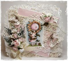 Card by LLC DT Member Tracy Payne, using papers from Pion Design's My precious Daughter collection. Image: Candibean, LDRS.