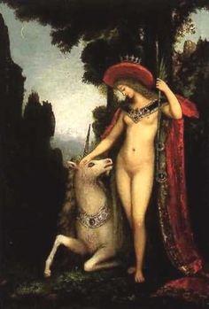 unicorn painting by Gustave Moreau Gustav Klimt, Mona Lisa Parody, Monalisa, Unicorn Tattoos, John Everett Millais, Mystique, Pre Raphaelite, Great Paintings, Artist Art