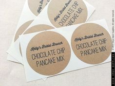 120 Chocolate Pancake Mix Jar Labels. Bridal or Baby Shower favors by OnceUponSupplies via Etsy