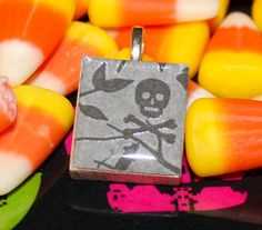 Skull and crossbones Halloween Scrabble Tile Pendant by GreyGyrl, $4.00