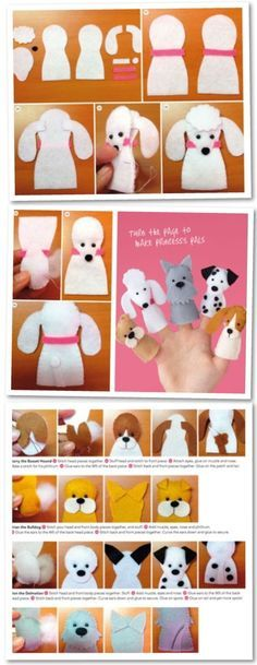 Cats Toys Ideas - Dog puppets More - Ideal toys for small cats Felt Puppets, Felt Finger Puppets, Finger Puppet Patterns, Ideal Toys, Felt Dogs, Felt Quiet Books, Operation Christmas Child, Felt Patterns, Animal Patterns