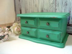 Green Vintage Jewelry Box Small Distressed by WillowsEndCottage, $38.00