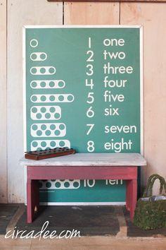milk painted stool & vintage counting board
