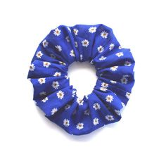 DAISIES on BLUE. Hair Scrunchy or Scrunchie. Daisy Hair by Smukie