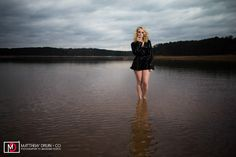 Fashion portraits in a drained Atlanta lake in winter.