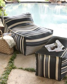 Striped Outdoor Beanbag Chair & Ottoman at Horchow. I've been looking for something cozy to put out on the veranda.