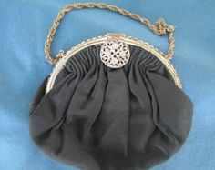 Vintage Black LaMarquise Purse Clutch With Rhinestones Trimming The Opening Formal Accessories