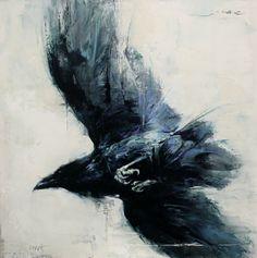 """Blackbird Fly"" by Lindsey Kustusch I love the original perspective to this painting! Crow Art, Raven Art, Bird Art, Corvo Tattoo, Crow Painting, Thread Painting, Crows Ravens, Watercolor Bird, Tattoo Watercolor"