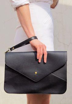 Oversize Vegan Leather Envelope Clutch  Black door EastWorkshop, $9,98