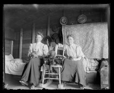 These two women, probably sisters, lived in a fairly comfortable, small homestead shack. With their cats and dog they enjoyed the comforts of a real bed and other furniture. A steamer trunk held their clothing and personal items.