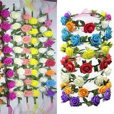 Fait À La Main Floral Couronne Rose Fleur Serre Tête Guirlande De Cheveux