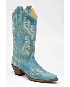distressed turquoise boots by Country Outfitter- LOVE THE COLOR!