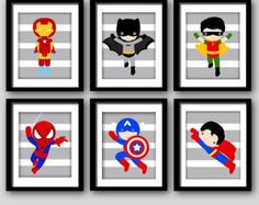 PICK 6 superhéroe de la pared IMPRESIONES por AmysSimpleDesigns