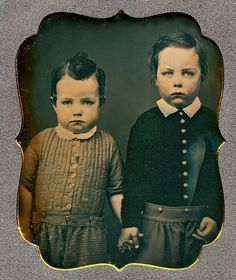Serious Little Brothers, 1/6th-Plate Daguerreotype, Circa 1850 by lisby1, via Flickr