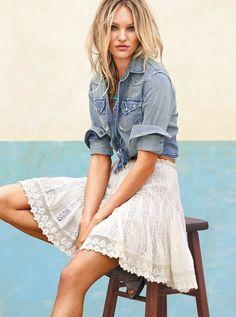 Jean Shirt & Lace Skirt