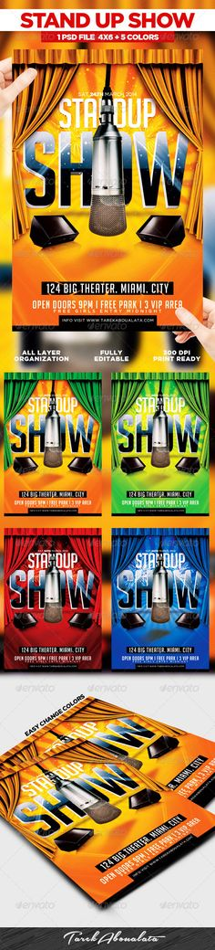 Comedy Show Flyer Template | Flyer Template, Graphics And Flyer