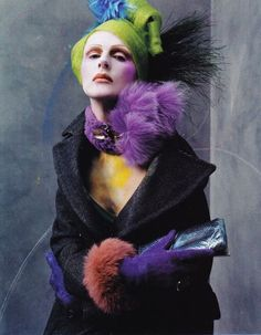 spectacular fashion story / fashion editor camilla nickerson / here channeling colours of the joker