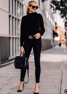 Fashion Jackson Wears Black Chenille Mock Neck Sweater Black Skinny Jeans B . - Mode Jackson wears black chenille mock neck sweater black skinny jeans Bla … – Fits your own st - Mode Outfits, Casual Outfits, Classy Outfits, Classy Clothes, Heels Outfits, Black Gucci Belt, Black Belt, Vetement Fashion, Fashion Looks