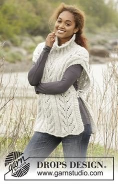 "Come Winter by DROPS Design. #Poncho with cables and high collar in ""Cloud"". Free #knitting Pattern"