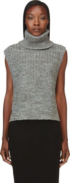 3.1 Phillip Lim - Grey Sleeveless Wool Turtleneck