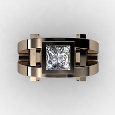 Bold and beautiful, this Mens Modern 14K Rose Gold 2.0 Ct Princess White Sapphire Ring R1049P-14KRGWS by David K Designs evokes character and minecraft design style. All sizes are available. Includes: * 1 x over 10.0 grams TW (approx) of solid 14K rose gold ring (10 mm top width, 5 mm bottom width) * 1 x princess 2.0 carat (7 mm x 7mm) lab created white sapphire (cz base) * Ring Size 9 (United States), R 1/2 (United Kingdom) - Sizable * Deluxe jewelry box Features: * Occasion: Special...