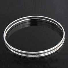 """Silver Tone Smooth w/ Textured Edging Slip on Set of 2 Bangle 7.5"""" Bracelet 725K #Jewelryauctionhouse #Bangle"""