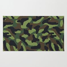 Green camo area rug for boys camouflage hunting army military bedroom decor. Add matching duvet cover, pillows, clock, shower curtain, wallpaper border, and more #decampstudios