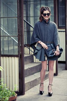 New York City Fashion and Personal Style Blog: Wool cape, tweed blazer, tulle dress, platform pumps
