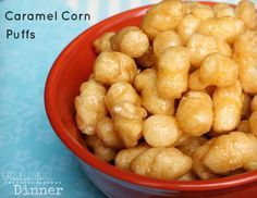 Caramel Corn Puffs {Hands Down, the BEST treat EVER!} Had this for a Bunco snack… Caramel Corn Puffs {Hands Down, the BEST treat EVER!} Had this for a Bunco snack…completely addicting! Bunco Snacks, Yummy Snacks, Yummy Food, Popcorn Recipes, Snack Recipes, Cooking Recipes, Dessert Recipes, Caramel Puff Corn, Caramel Puffed Corn Recipe