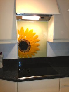 Sunflower handmade glass splashback