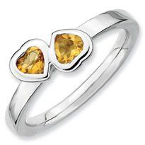 0.45ct Silver Stackable Citrine Double Heart Ring. Sizes 5-10 Available Jewelry Pot. $29.99. Fabulous Promotions and Discounts!. Your item will be shipped the same or next weekday!. 100% Satisfaction Guarantee. Questions? Call 866-923-4446. All Genuine Diamonds, Gemstones, Materials, and Precious Metals. 30 Day Money Back Guarantee. Save 63%!