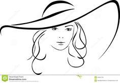 Schattenbild Der Schönen Frau In Einem Eleganten Hut ...